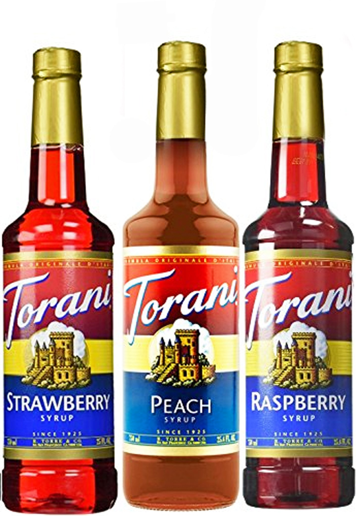 Torani Syrup Fruit Flavors 3 Pack Raspberry, Strawberry and Peach