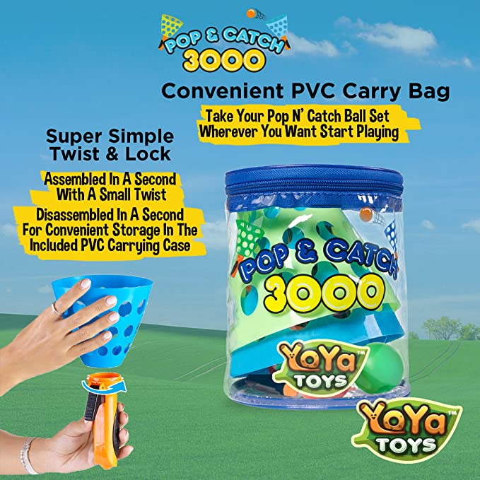 Amazon.com: YoYa Toys Pop & Catch Launcher Cesta con 3 bolas ...