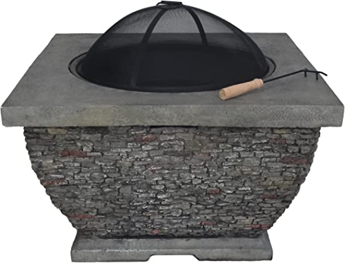 Christopher Knight Home 304483 Laraine Outdoor 32″ Wood Burning Light-Weight Concrete Square Fire Pit