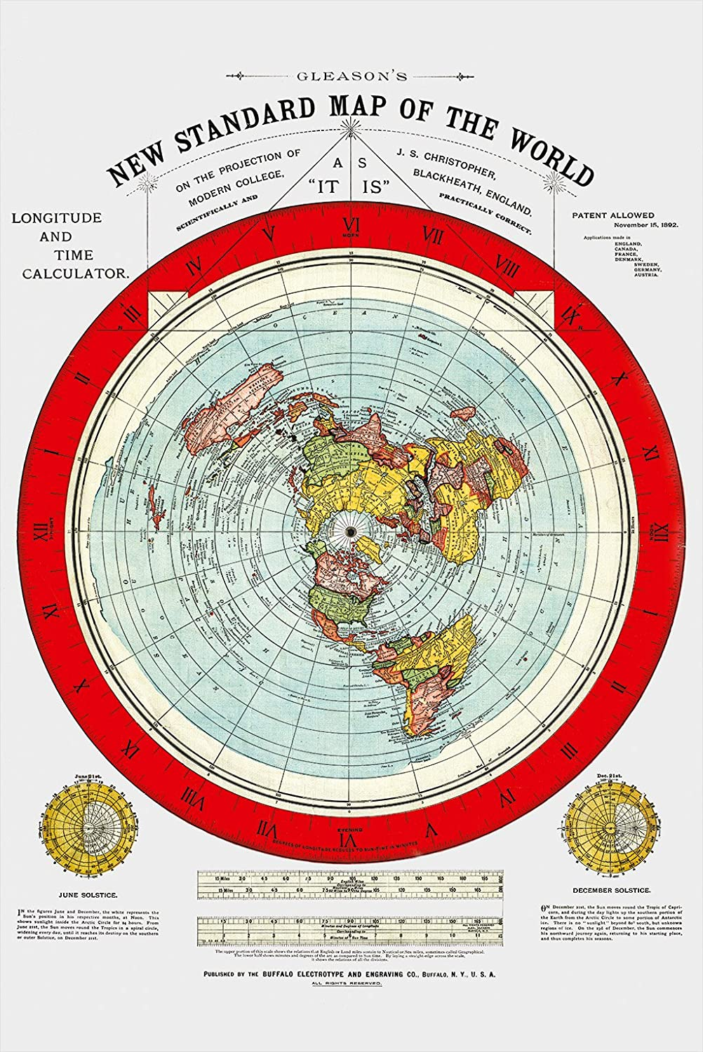 Gleason Flat Earth Map Amazon.: Flat Earth Map   Gleason's New Standard Map Of The