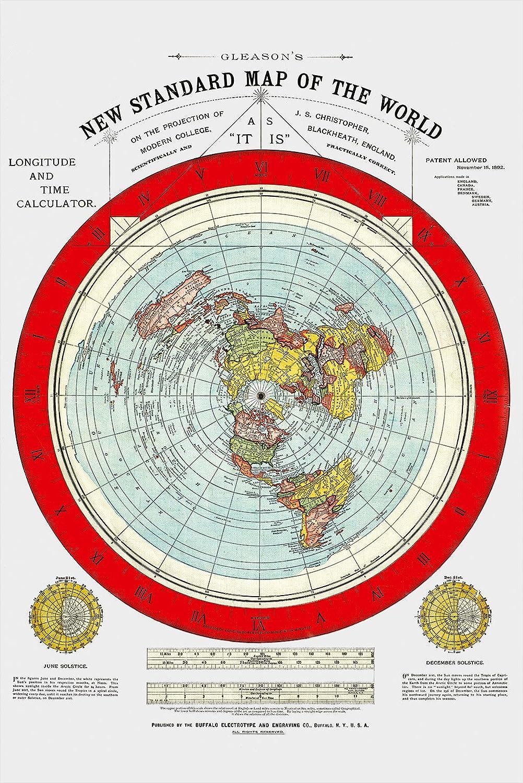 Gleason Flache Erde Karte.Flache Erde Karte Flat Earth Map Gleason S New Standard Map Of The World Large 24 X 36 1892 1