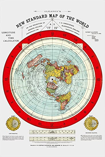 Amazoncom Flat Earth Map  Gleasons New Standard Map Of The