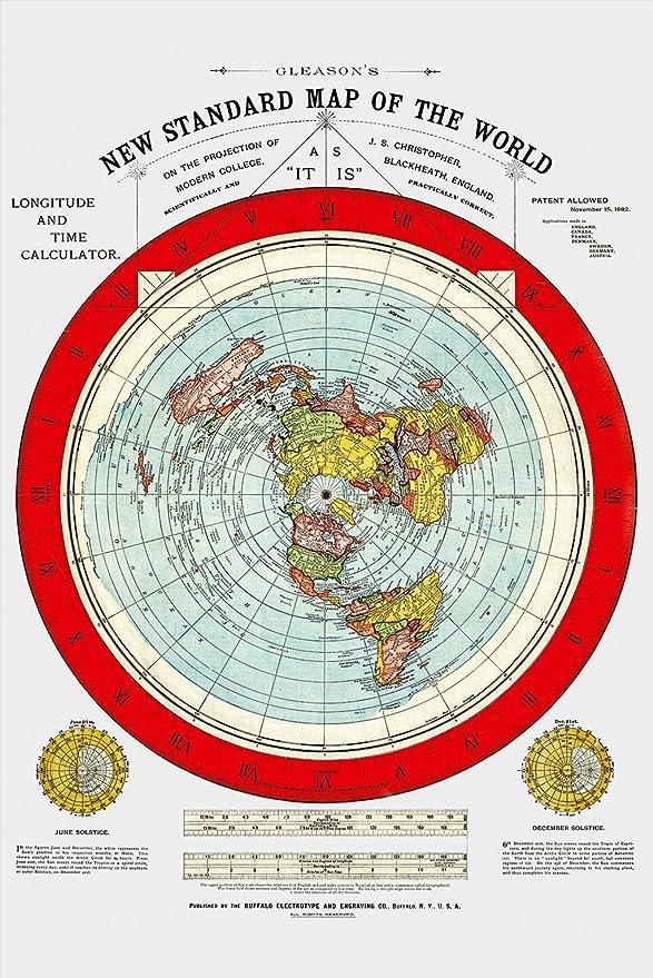 Flache Erde Karte Kaufen.Flache Erde Karte Flat Earth Map Gleason S New Standard Map Of The World Large 24 X 36 1892 1