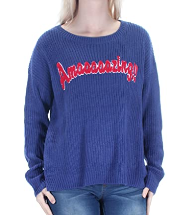c39403317 Image Unavailable. Image not available for. Color: Hooked Up By Iot Juniors  Blue Amazing Pullover Sweater S