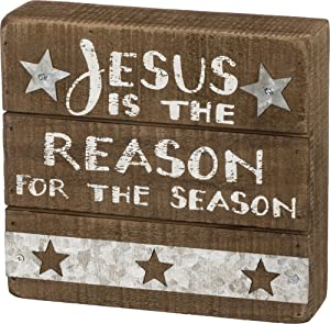 Primitives by Kathy Slat Box Sign, Jesus is The Reason for The Season
