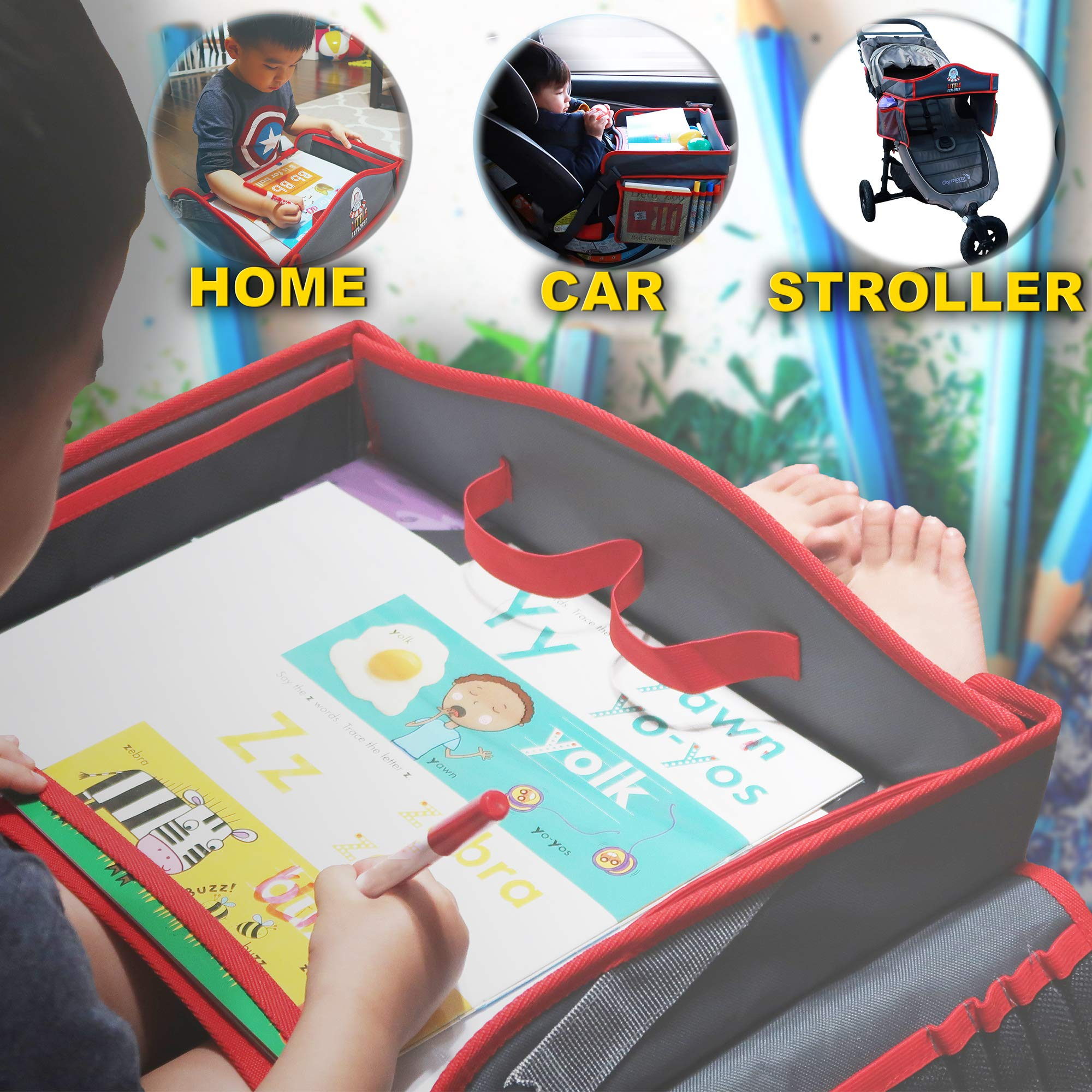 Portable Kids Travel Tray With Waterproof And Erasable Surface By Little Explorer / Unique Space Design Tray With Side Pockets And Wet Wipe For Any Car Seat, Strollers And High Chair