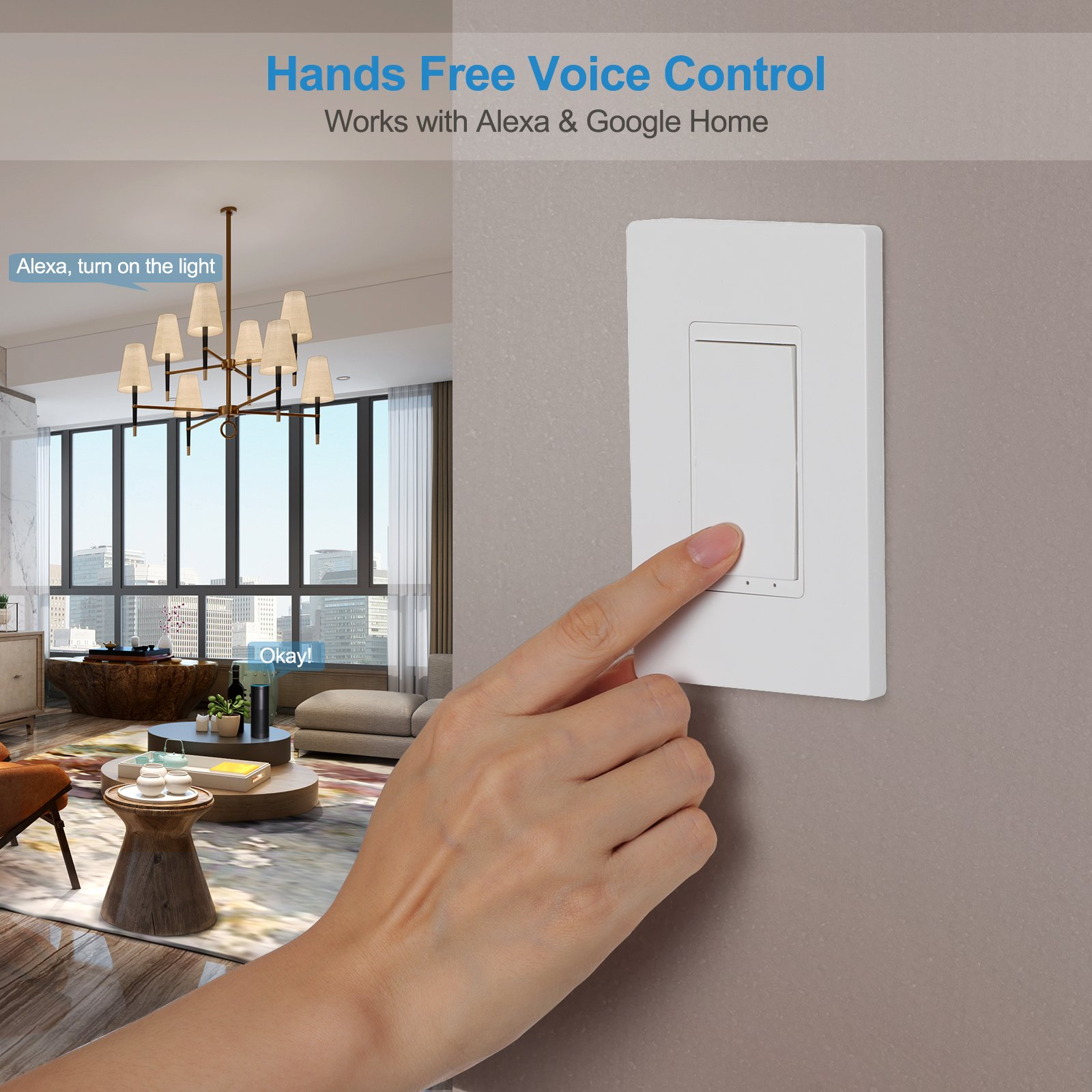 DEWENWILS Smart WiFi Light Switch In-wall, Wireless Remote Control, No Hub Required, Control Your Fixtures from Anywhere, Compatible with Alexa, Google Assistant and IFTTT by DEWENWILS (Image #4)
