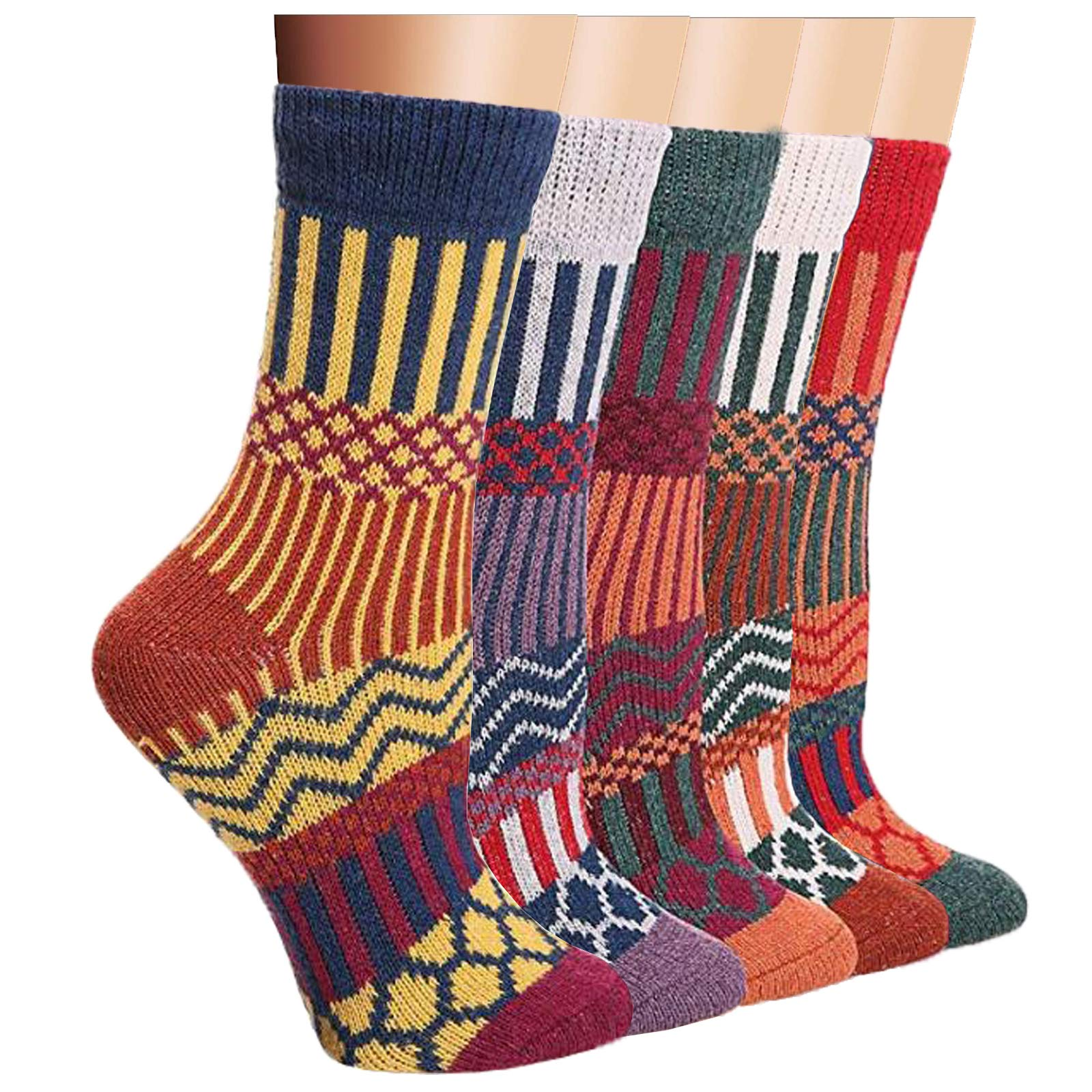 5 Pairs Womens Vintage Style Winter Warm Thick Knit Wool Novelty Soft Crew Socks