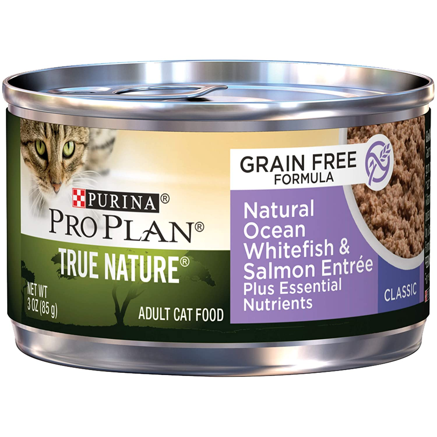 Purina Pro Plan Wet Cat Food, True Nature, Grain Free, Ocean Whitefish and Salmon Entrée, 3-Ounce Can, Pack of 24