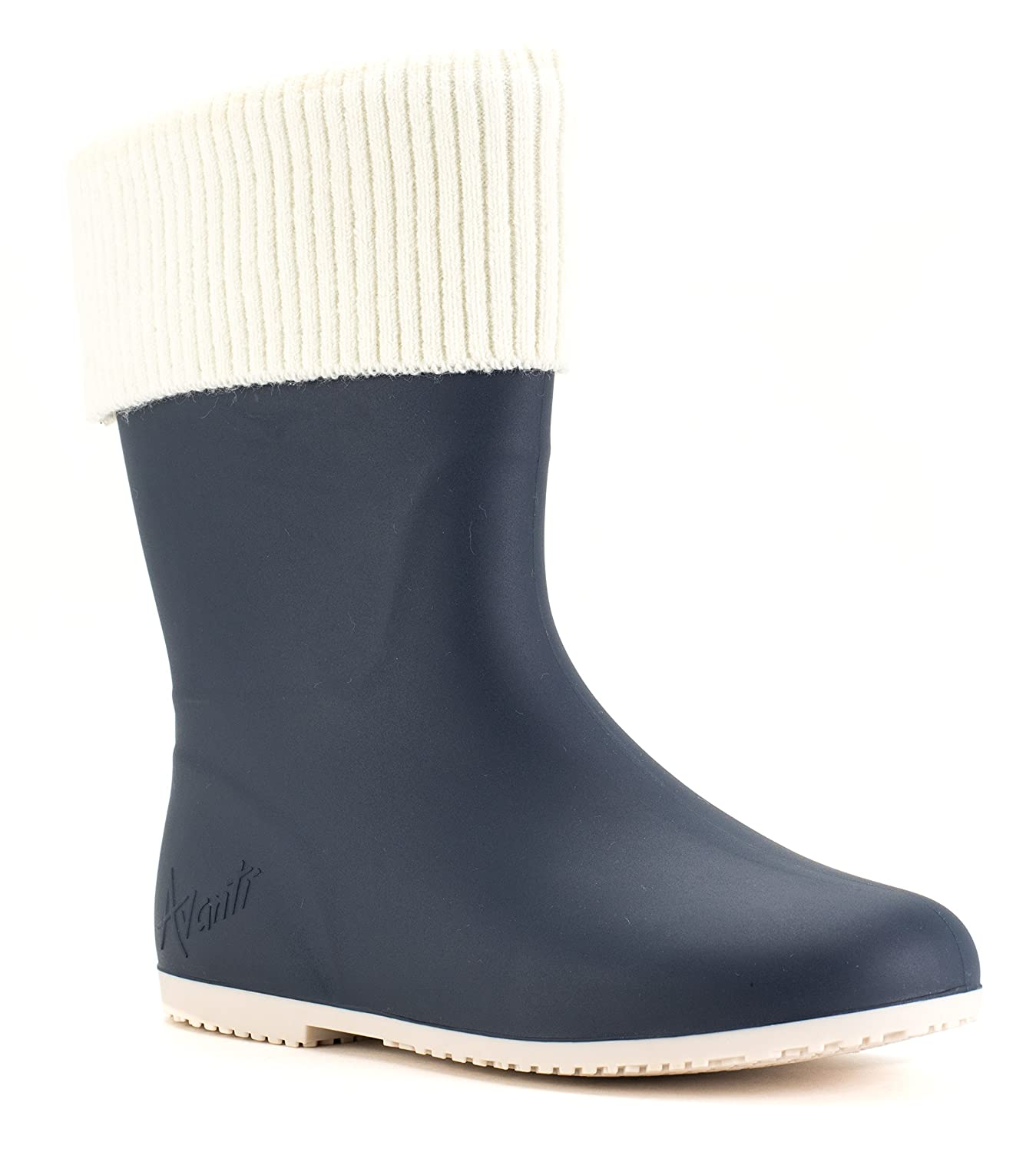 Avanti Storm Rain Boot Waterproof With Removable Knitted Cuff Monogram-Able Foldable B078SXBZ8M 9 B(M) US|Navy and Cream