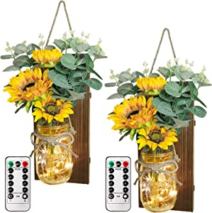 OurWarm Sunflower Mason Jar Sconces Wall Decor, Rustic Wall Sconces Handmade Hanging Mason Jars Decorations with Remote LED Fairy Lights for Home Kitchen Living Room Farmhouse Home Decor, Set of 2