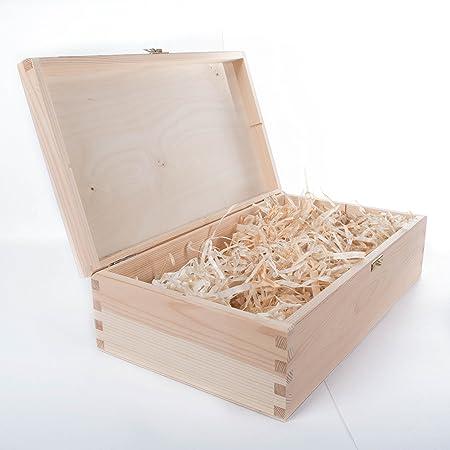 SearchBox - Caja de Madera para Vino con bisagras prerellenadas con Lana de Madera, 2 Botellas de Espacio