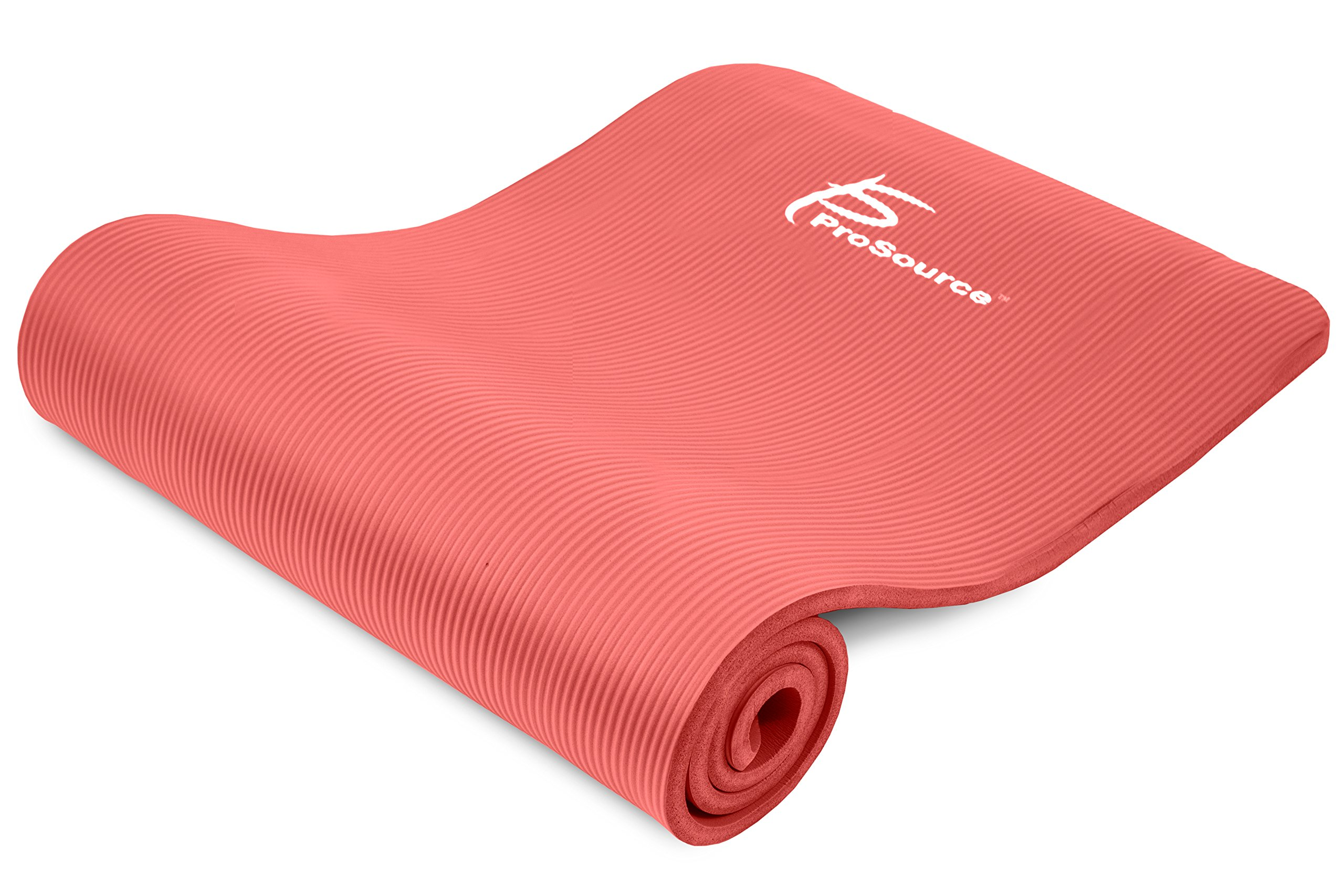 ProsourceFit Extra Thick Yoga and Pilates Mat ½'' (13mm), 71-inch Long High Density Exercise Mat with Comfort Foam and Carrying Strap, Red