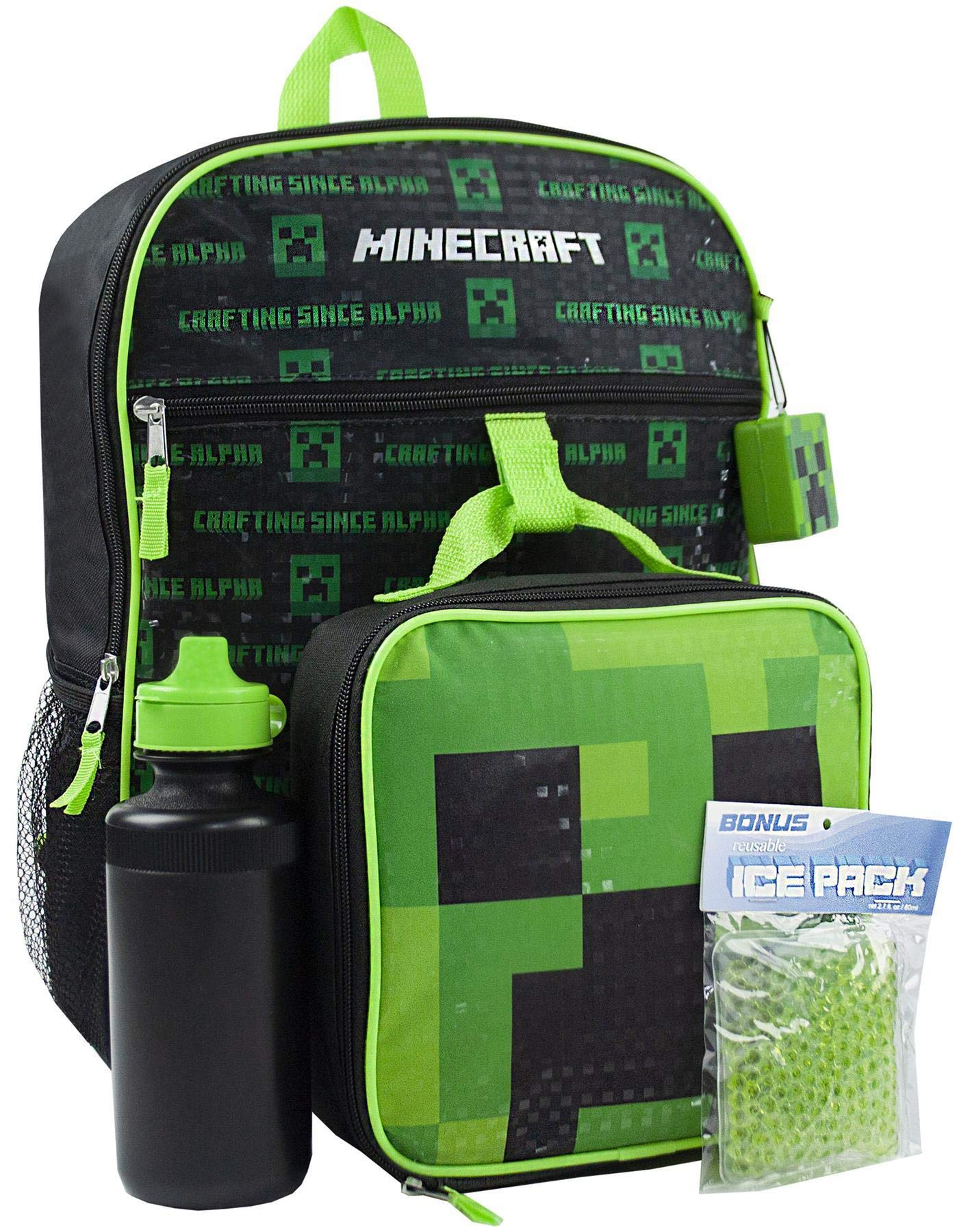 Minecraft Creeper 5 Piece Backpack Set Lunch Box Water Bottle Ice Pack Squishy by Minecraft