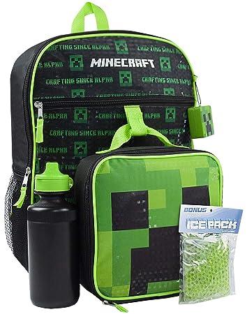 Minecraft 5-Piece Backpack Set Lunch Bag Water Bottle IcePack