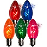 C-9 Multi-Color Clear Twinkle Bulbs Brand New 1 Box of 25 C9 Multi Color Twinkling Blinking Light Bulbs Transparent Blue Green Red Orange Pink Multi-Color Set Box of 25