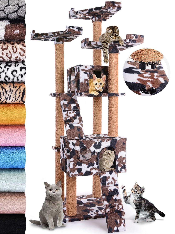 Leopet - Arbol rascador para gatos de altura 171.5 cm - 2 cuevas y 3 plataformas y 2 escaleras - Military/camouflage - color a elegir: Amazon.es: Hogar