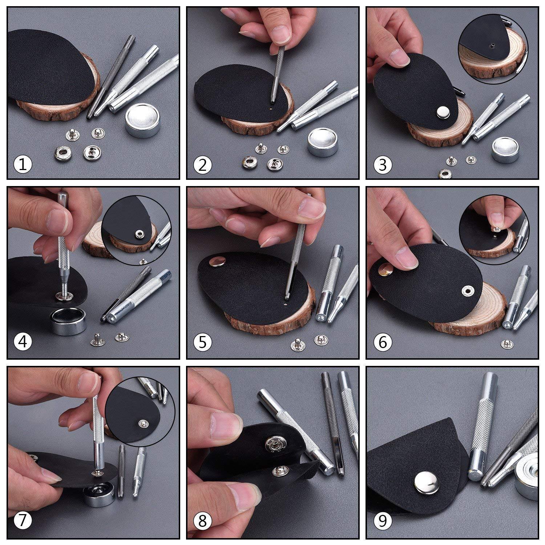 WOWOSS 50 Piezas Botones Metálicos a Presión y Conjunto Botón de Cuero para Botones de Presión de Cobre Remache Herramienta de Herramientas (plata, ...