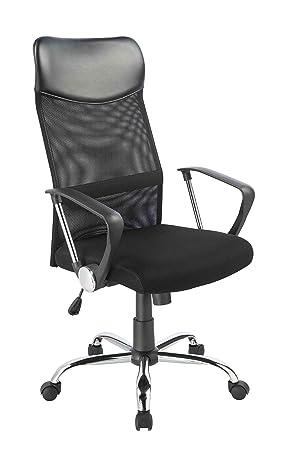 Duhome Silla de oficina de escritorio de malla negro ajuste de altura giratoria mecanismo de inclinación con respaldo 0341