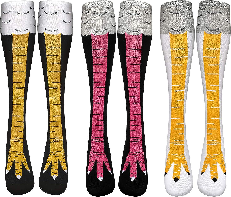 SATINIOR 3 Paare Verr/ückte lustige H/ühnerbein Socken Karikatur H/ühnerfu/ß Socken f/ür Frauen