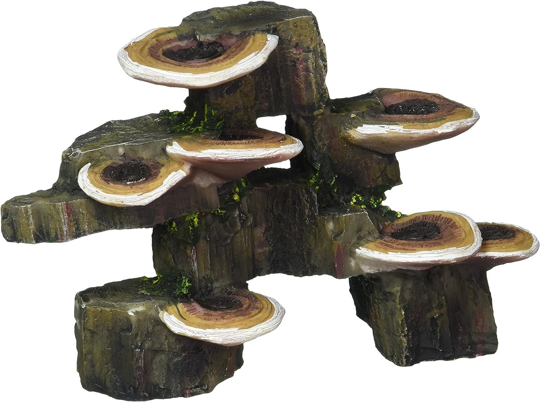 "Pen Plax RR1006 Mushrooms on Rock Aquarium Ornament, Small/6"" x 3"" x 4.25"""