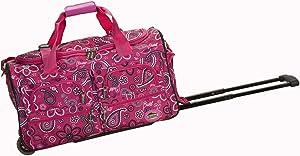 Rockland Rolling Duffel Bag, Pink Bandana, 22-Inch