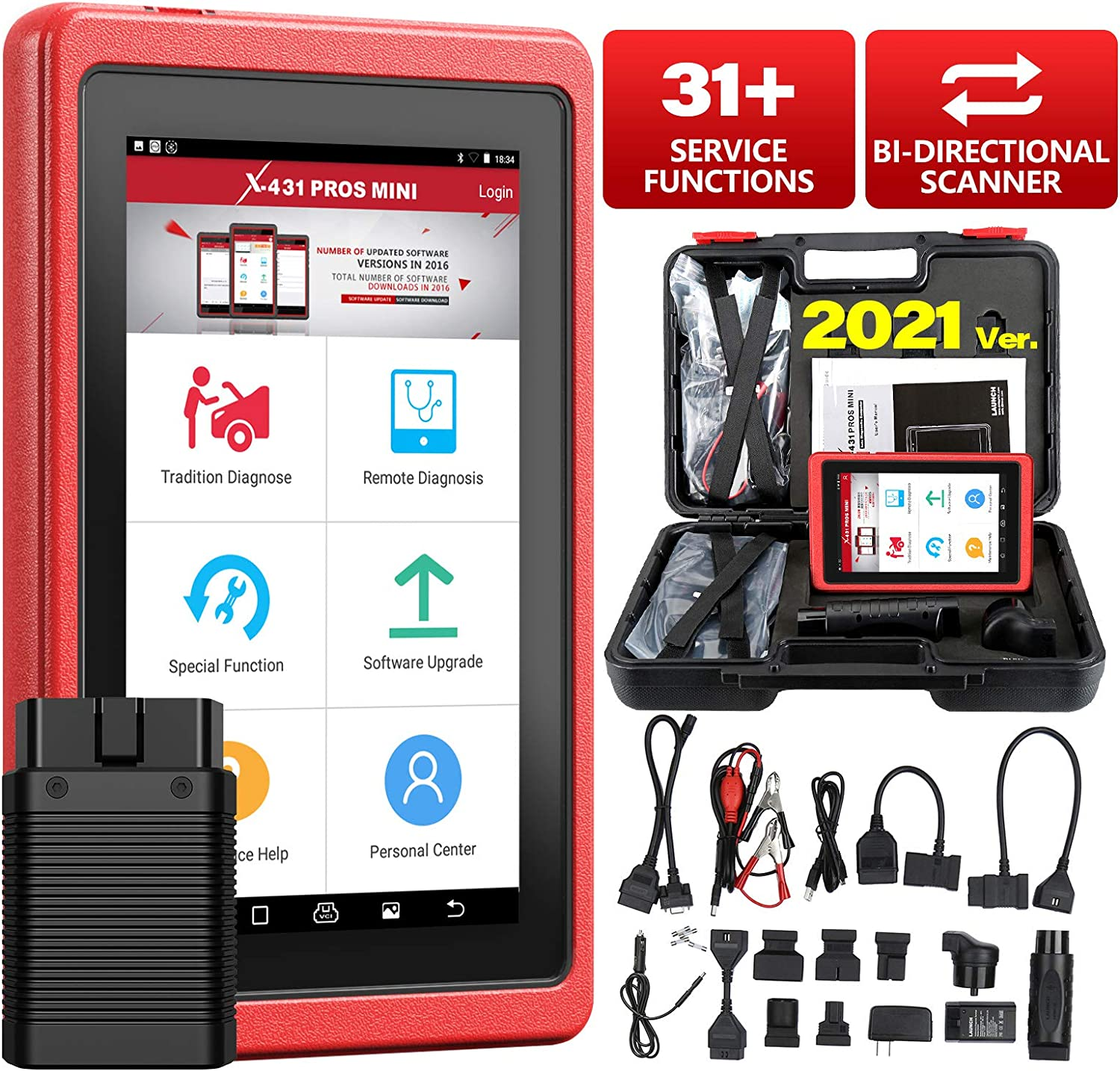 Launch X431 PROS Mini Bi-Directional Diagnostic Scan Tool Full System Automotive OBD2 Scanner Code Reader IMMO Injector ECU Coding TPMS ABS Bleeding with Wifi Bluetooth 2 Years Free Update
