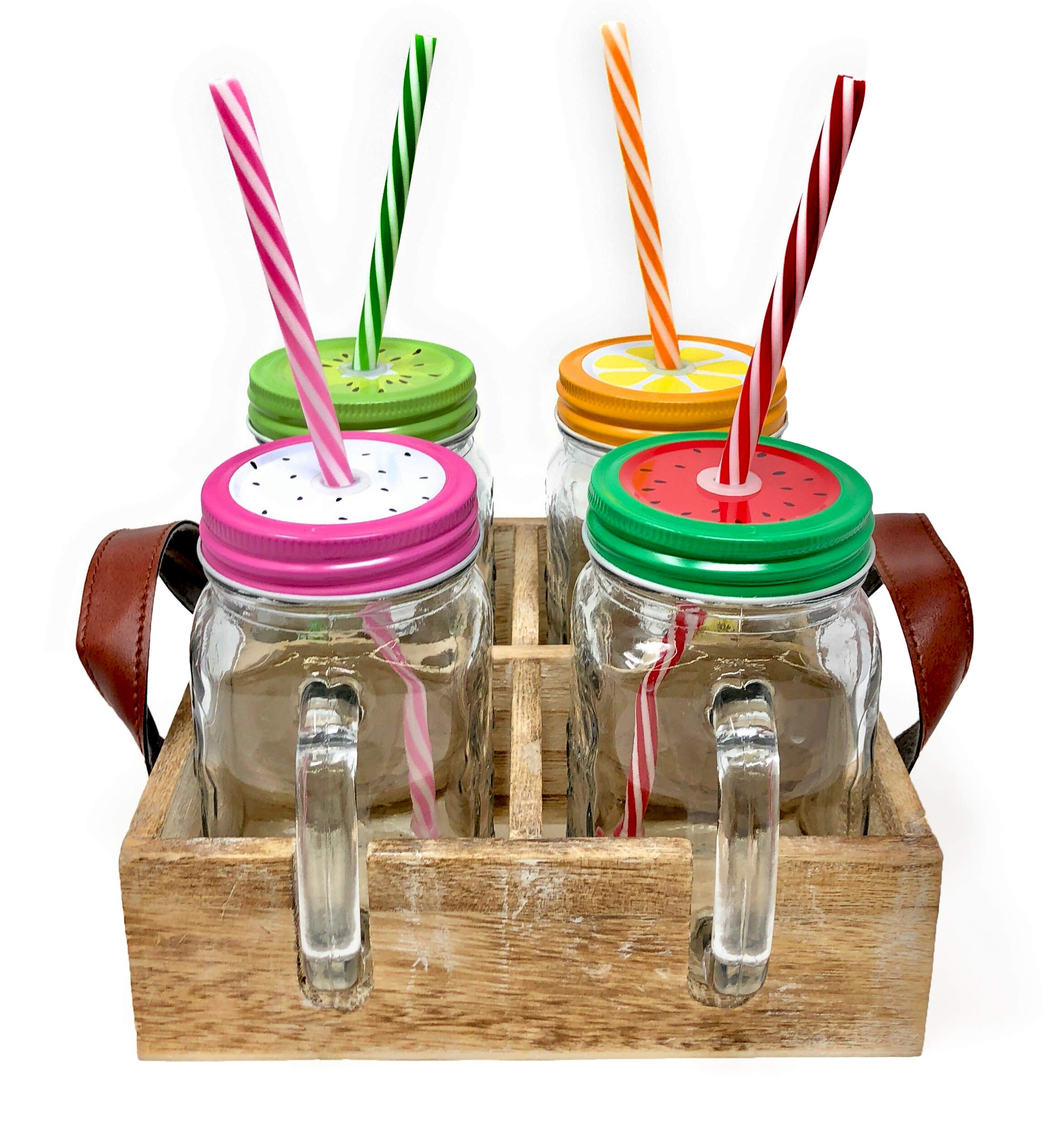 TheBarsentials Set of 4 Mason Jar Mugs with Handles, Stainless Steel Lids and Reusable Straws, 16 oz Clear Glass Pint, Farmhouse Drinking Cups in Rustic Wood Tray (Assorted Colors) by TheBarsentials