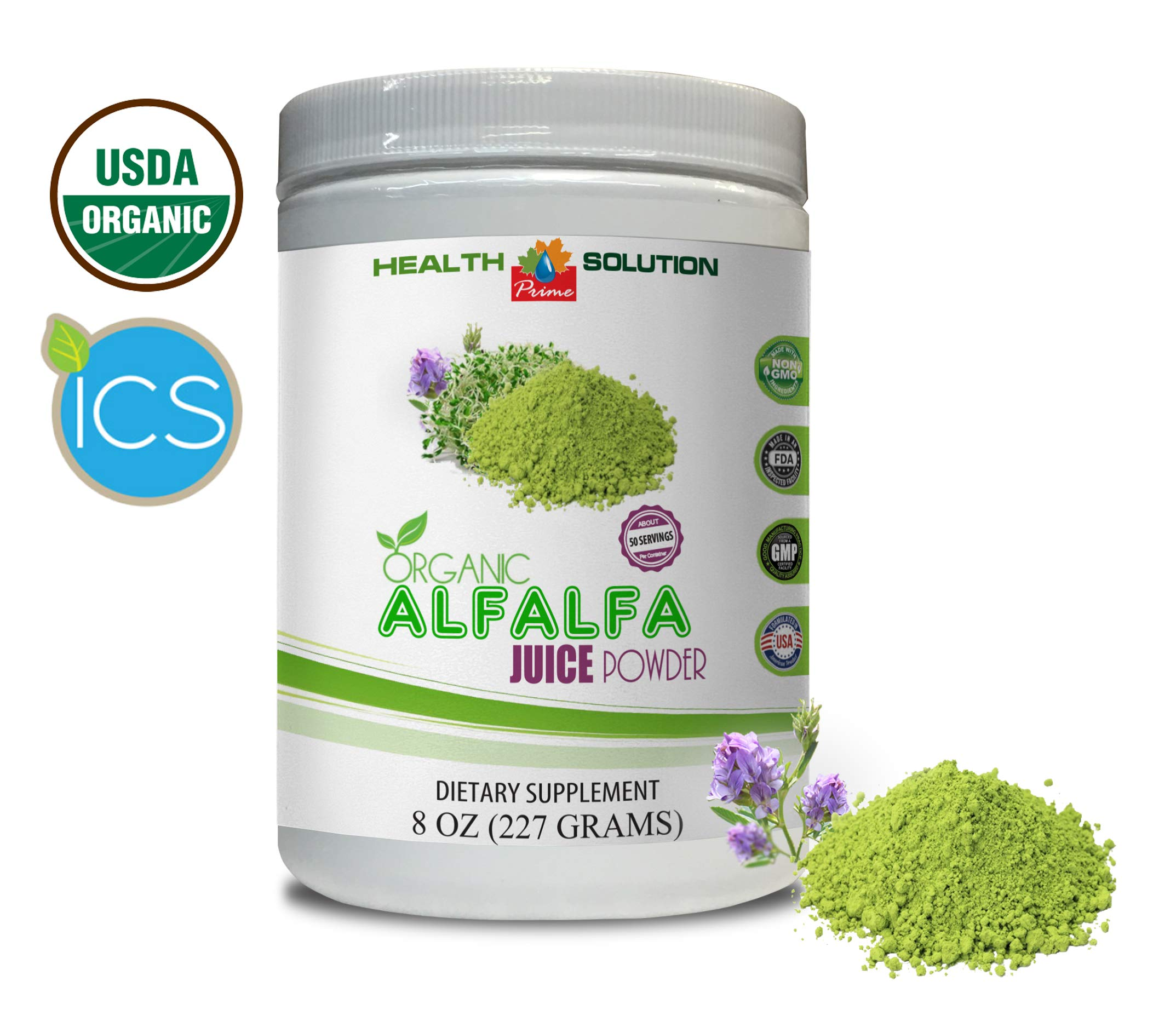 Immune System Natural - Organic Alfalfa Juice Powder - Alfalfa Juice Powder Organic - 1 Can 8 OZ (50 Servings)