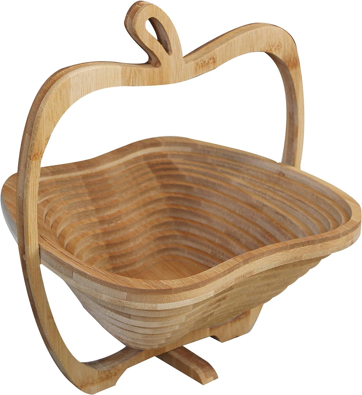 Royal Brands Apple Fruit Basket Bamboo Folding Collapsible Fruit Basket Apple Decor Kitchen Decor