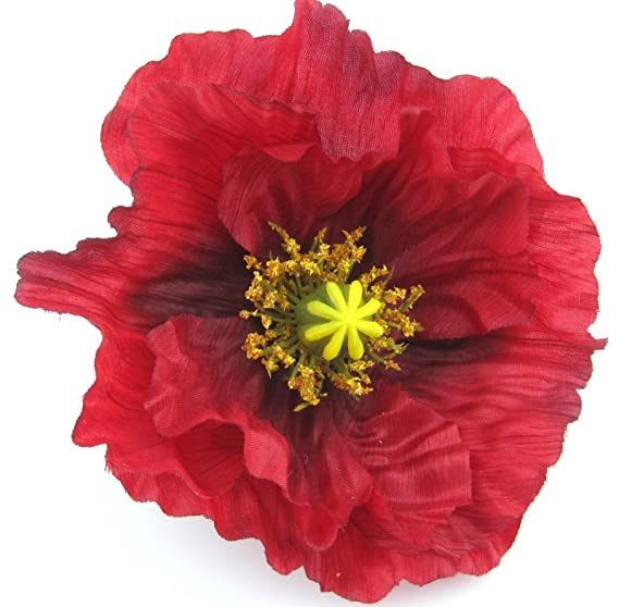 Amazon Large 45 Red Poppy Silk Flower Hair Clip Clothing