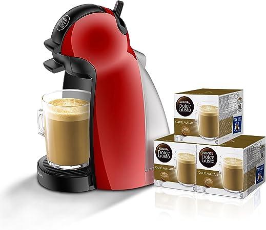 Pack Krups Dolce Gusto Piccolo KP1006 - Cafetera de cápsulas, 15 bares de presión, color rojo + 3 packs de café Dolce Gusto Con Leche: Amazon.es: Hogar