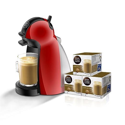 Pack Krups Dolce Gusto Piccolo KP1006 - Cafetera de cápsulas, 15 bares de presión, color rojo + 3 packs de café Dolce Gusto Con Leche