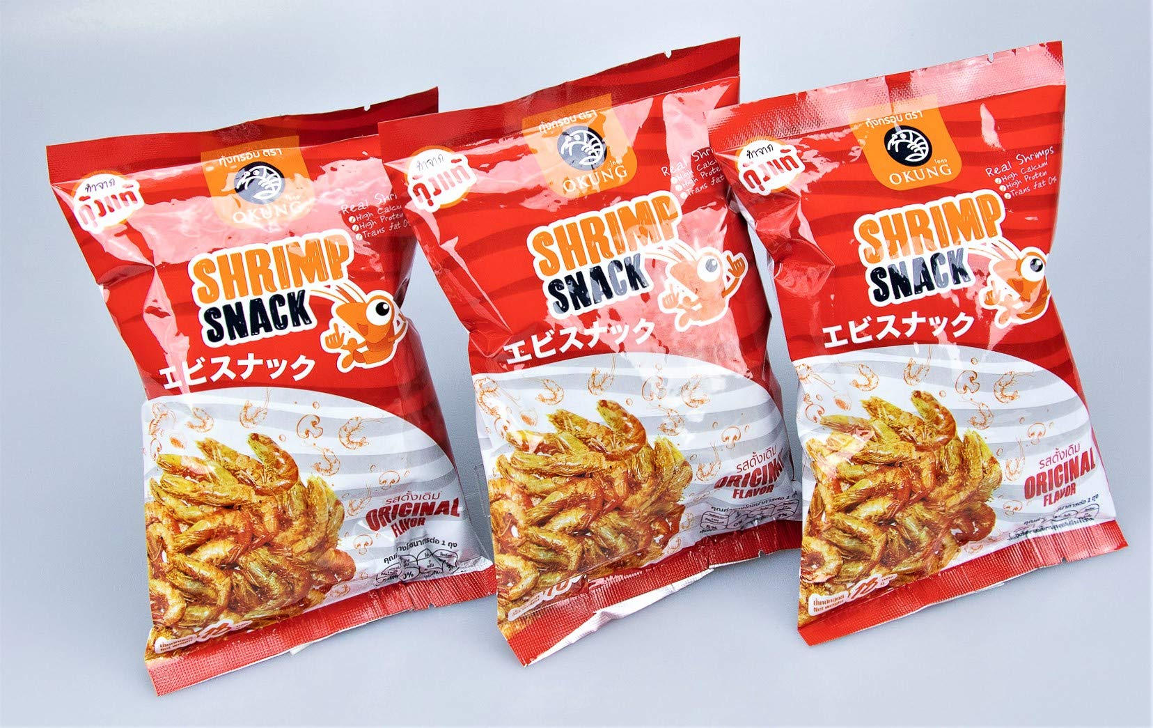 Okung Brand, Shrimp Snack Original Flavor 18g X 3 Packs by Kung