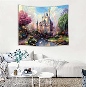 HVEST Castle Tapestry Trees and River in Fantasy Forest Wall Hanging Fairy Tale Tapestries for Kids Bedroom Living Room Dorm Party Wall Decor,60Wx40H inches