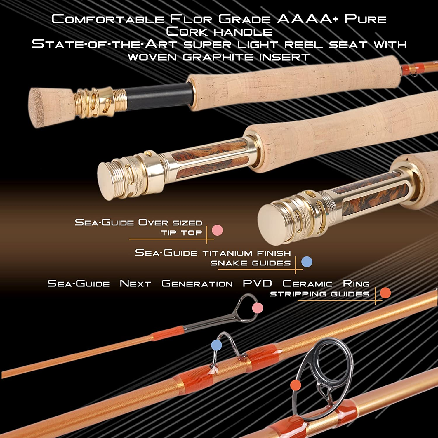 4//5//6//8WT 9FT Fast Action Graphite IM12 W// Tube Maxcatch Gold Fly Fishing Rod