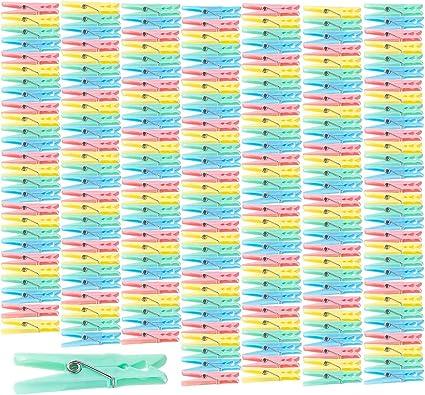 120 Pièces Pinces à linge en plastique coloré Pinces à linge 7 cm Puissant Ferme Plastique