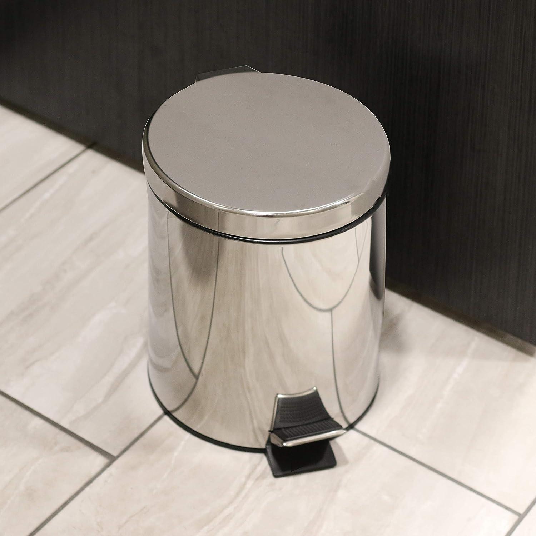 M/&W Basurero Cubo de basura con contenedor extra/íble Papelera 5L Papeleras de ba/ño Papelera de acero inoxidable con tapa Cubo de basura con revestimiento