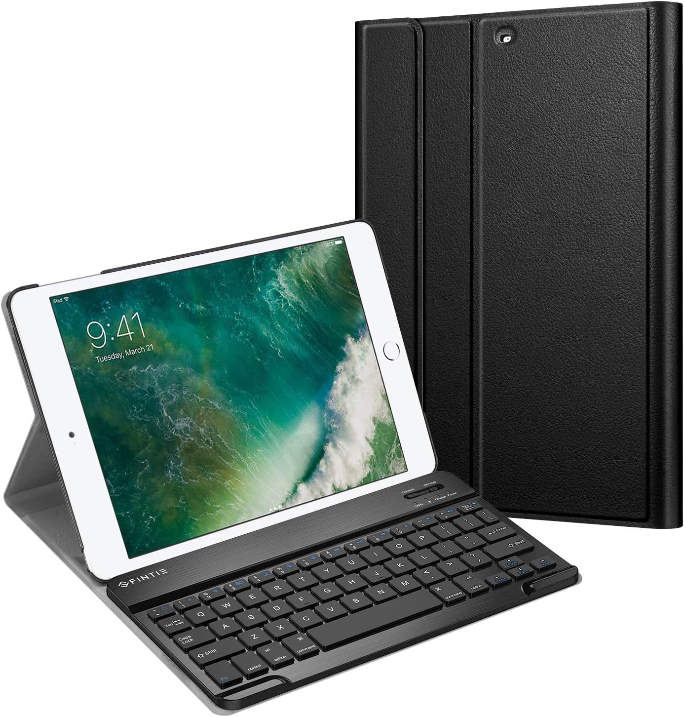 Fintie Keyboard Case for iPad 9.7 2018/2017 / iPad Air 2 / iPad Air - Slim Shell Stand Cover w/Magnetically Detachable Wireless Bluetooth Keyboard for iPad 6th / 5th Gen, Black