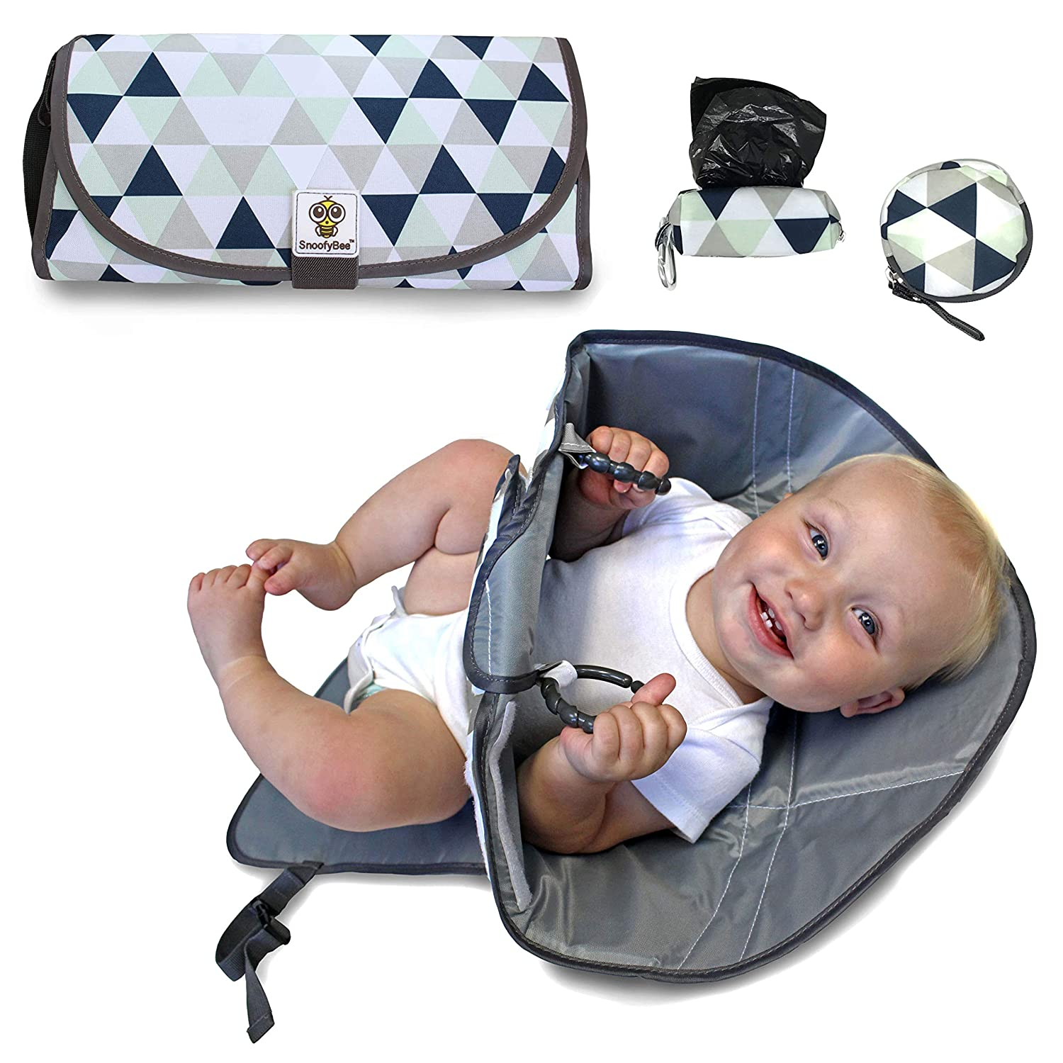 Babies and Toddlers Triangle Blue Changing Station with Redirection Barrier for use with Infants Matching Baggy Dispenser and Pacifier pod SnoofyBee Portable Clean Hands Changing Pad Bundle Set