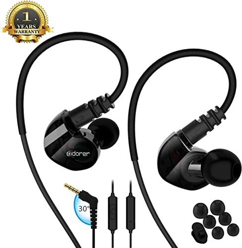 Running Sport Earphones Over Ear Buds with Microphone Remote Noise Cancelling Earhook Headphones Sweatproof in Ear Earphones for Gym Jogging Workout Exercise Black
