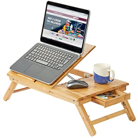 Andrew James Bandeja de Ordenador portátil/Soporte para Tablets, portátil Fabricado de bambú