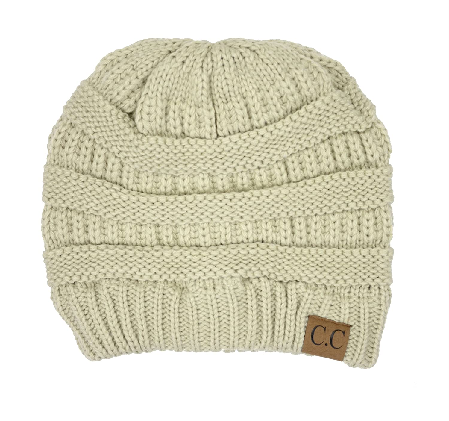 05a13fd6147 Amazon.com  Thick Slouchy Knit Oversized Beanie Cap Hat (Beige)  Clothing