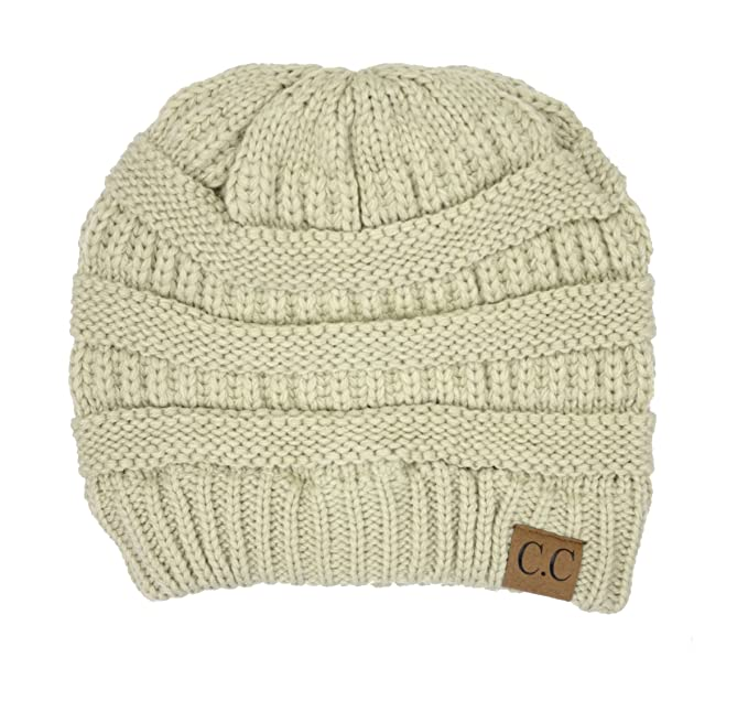Amazon.com  Thick Slouchy Knit Oversized Beanie Cap Hat (Beige ... 76de1e286de