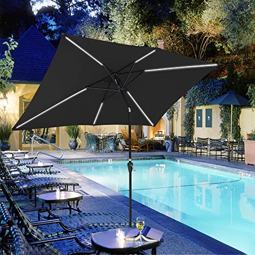 Yescom 10×6.5Ft Rectangle Solar Powered LED Light Bar Patio Umbrella