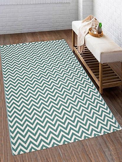 Saral Home Premium Quality Cotton Multi Purpose Handloom Rugs-90x150 cm, Turquoise