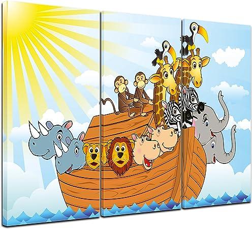 Bilderdepot24 Cuadros en Lienzo Arca de Noé de la Historieta 150x90 cm 3 Piezas - Enmarcado Listo Bastidor Imagen. Directamente Desde el Fabricante: Amazon.es: Hogar