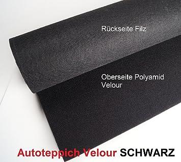 Wundervoll SCHWARZ Autoteppich Velour Leicht Teppich Meterware Oldtimer  OQ28