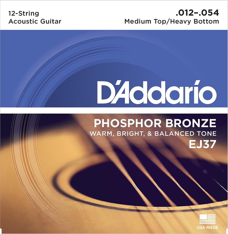 D'Addario EJ37 12-String Phosphor Bronze Acoustic Guitar Strings, Medium Top/Heavy Bottom, 12-54 D'Addario