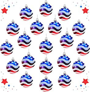 20 Piece Independence Day Hanging Ball Ornament Patriotic Day Ball Decoration 60 mm July of 4th Ball Hanging decor for Home Holiday Party Tree Hanging Decorations American Flag Pattern Ball Decoration